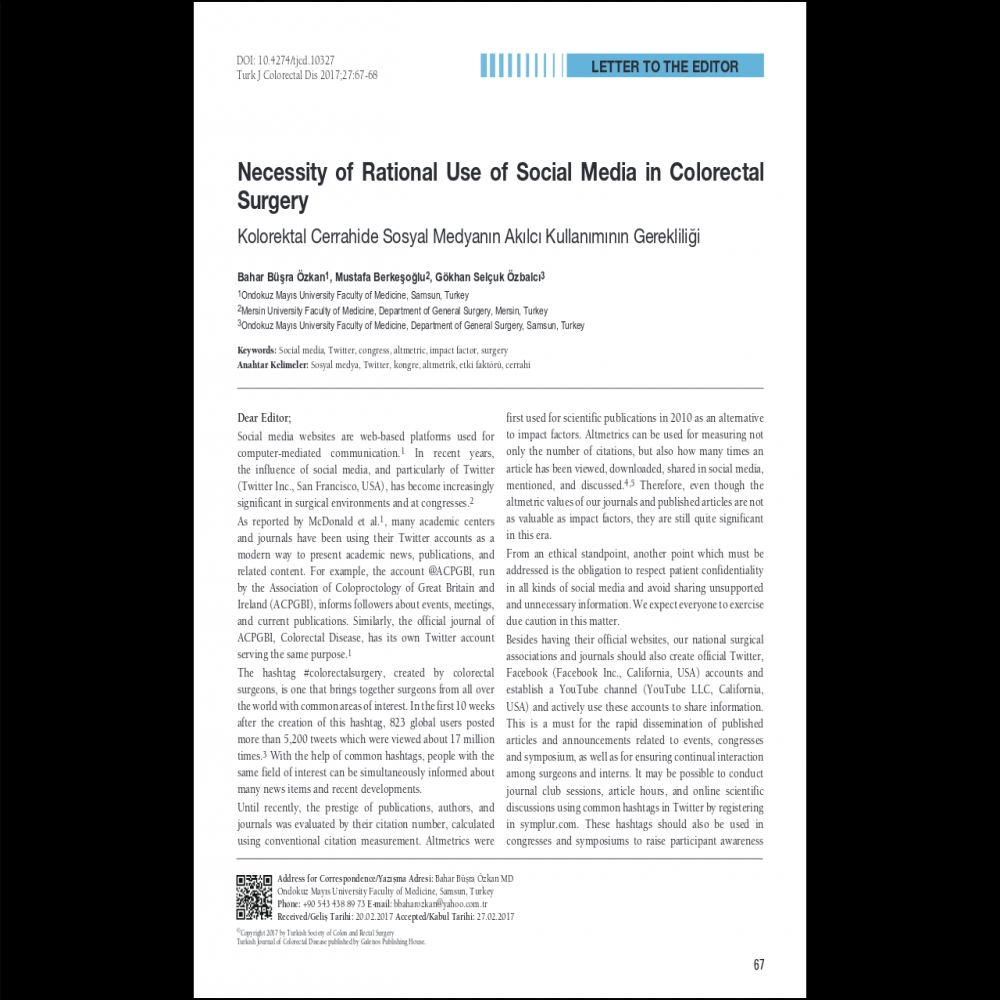 A healthcare social media research article published in Turkish Journal of Colorectal Disease, 2017