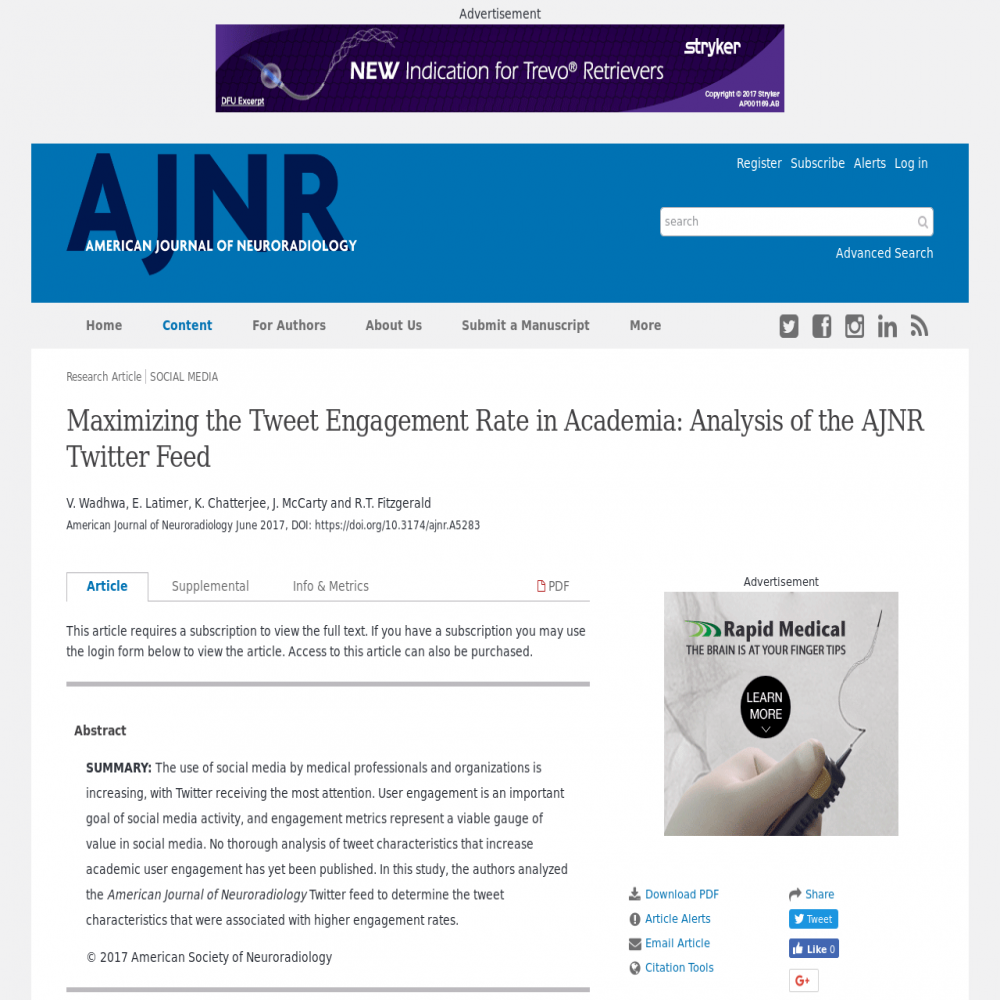 A healthcare social media research article published in American Journal of Neuroradiology, June 28, 2017
