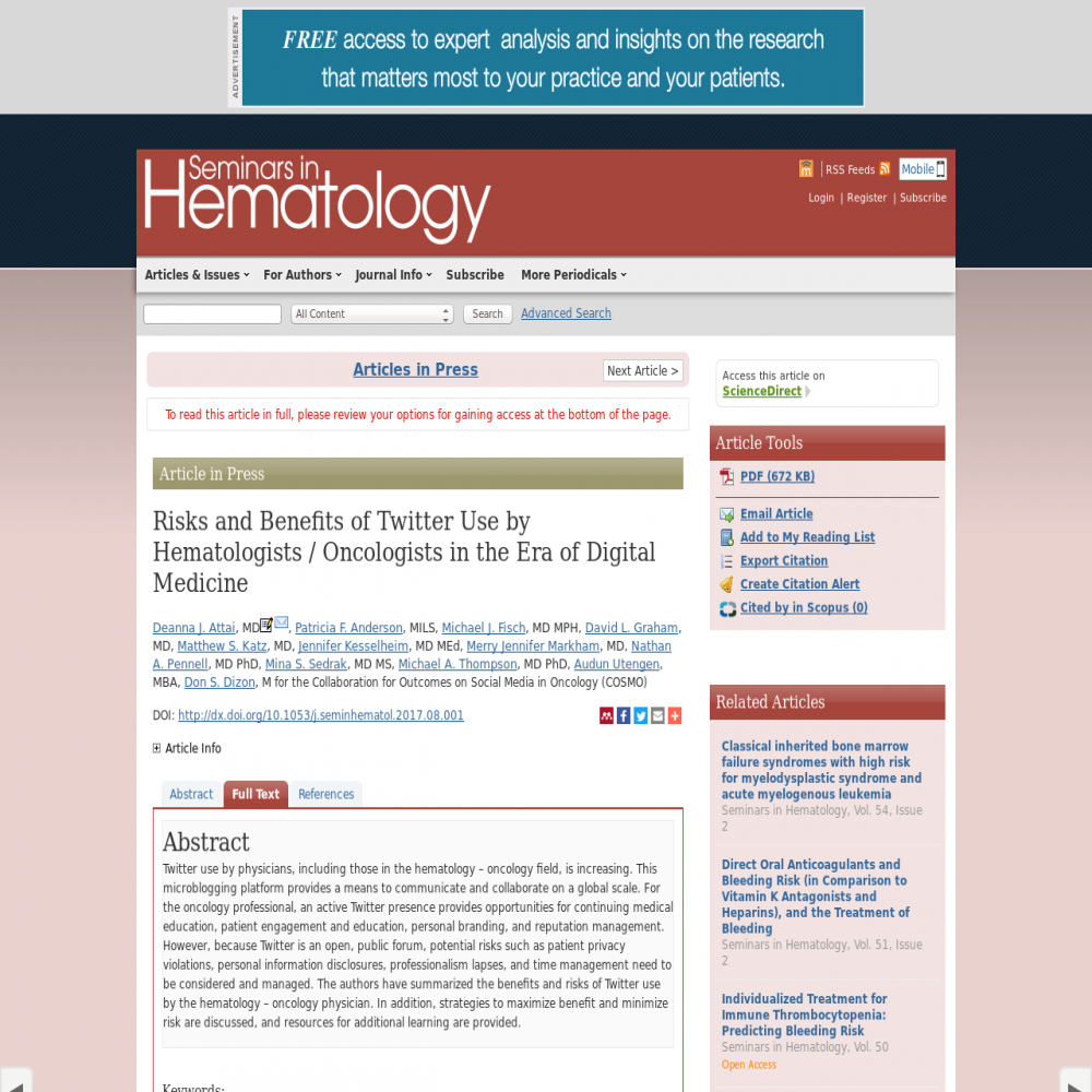 A healthcare social media research article published in Seminars in Hematology (ScienceDirect), September 30, 2017