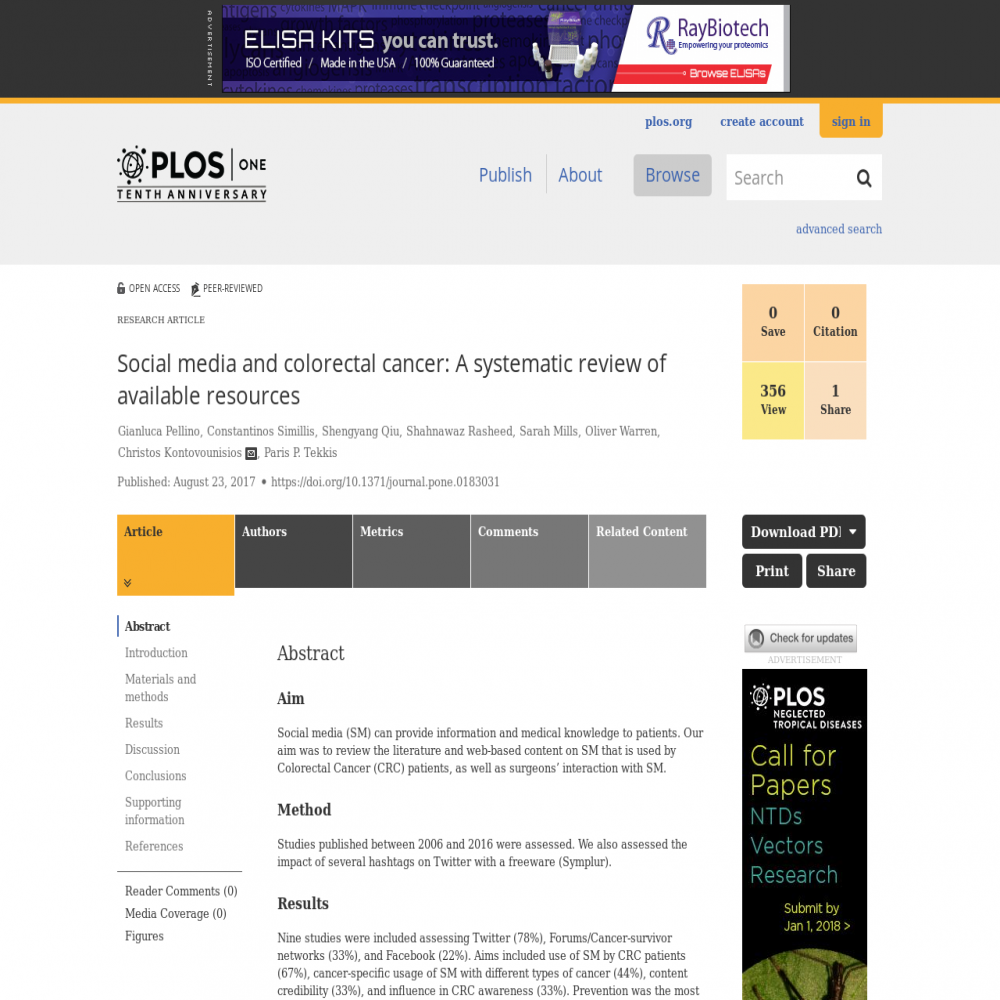 A healthcare social media research article published in PLoS ONE, August 22, 2017