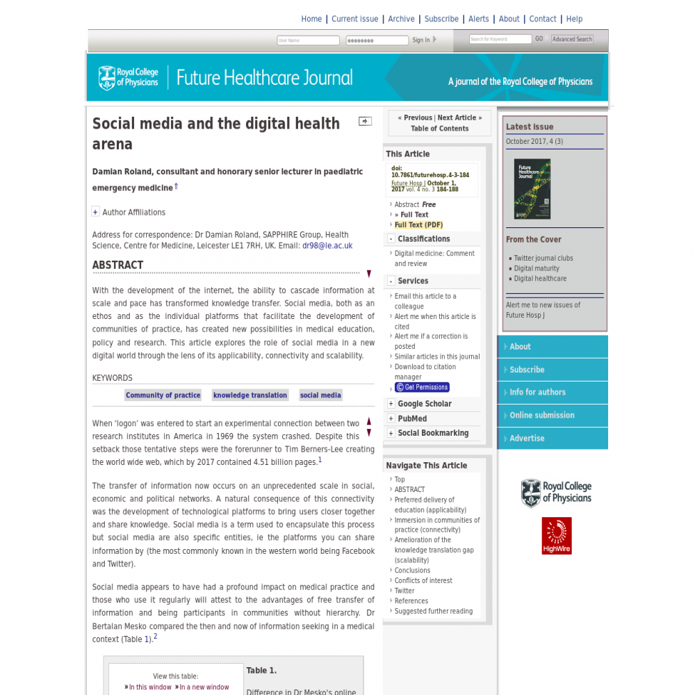A healthcare social media research article published in Future Hospital Journal, October 2, 2017