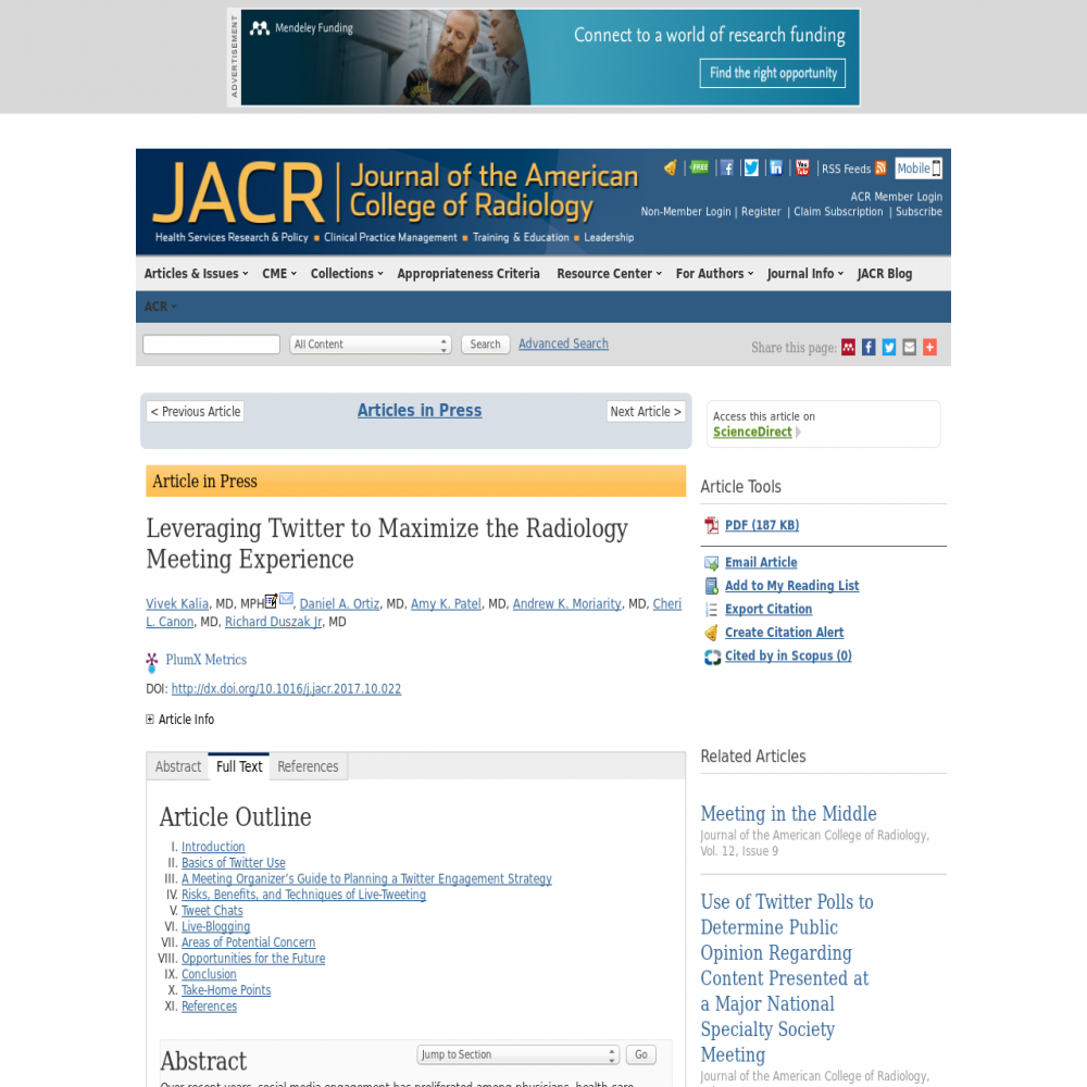 A healthcare social media research article published in Journal of the American College of Radiology, December 31, 2017