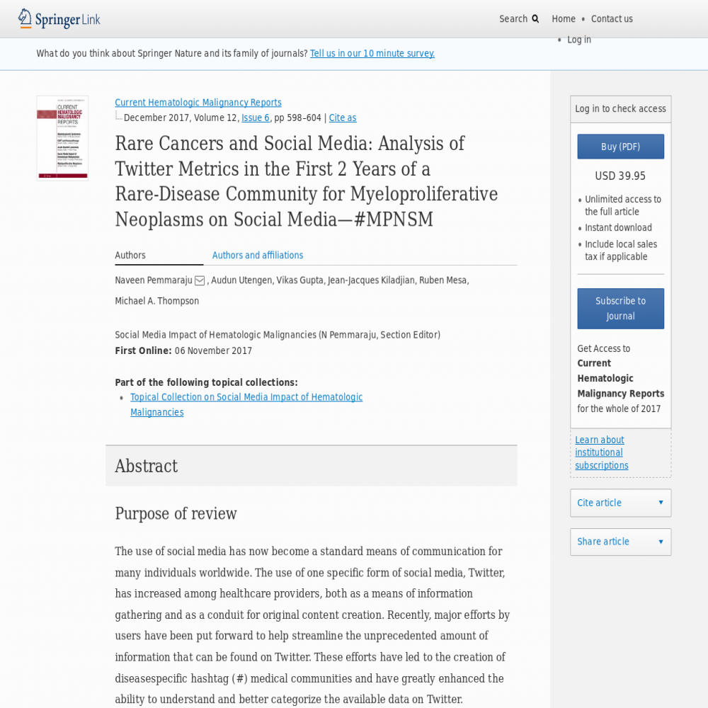 A healthcare social media research article published in Current Hematologic Malignancy Reports, November 5, 2017