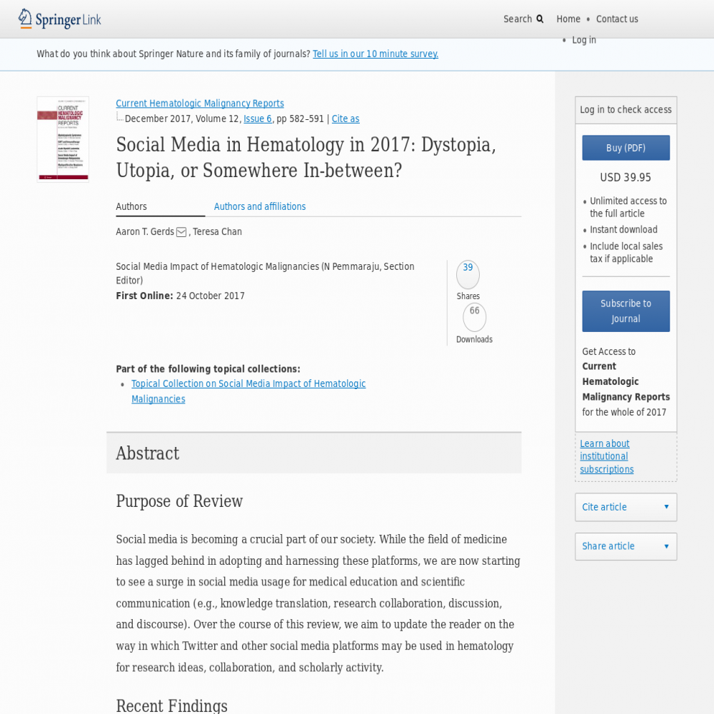 A healthcare social media research article published in Current Hematologic Malignancy Reports, October 23, 2017